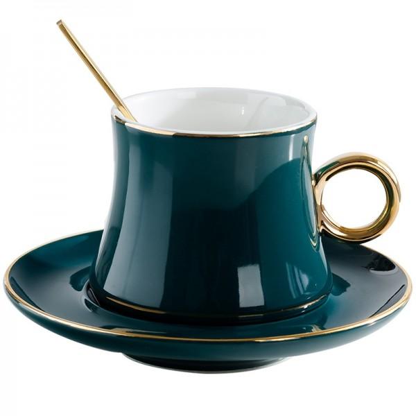Tasses à café en céramique de style européen Set Creative Golden Edge tasse à thé et soucoupe mode fleur thé tasse à thé en porcelaine