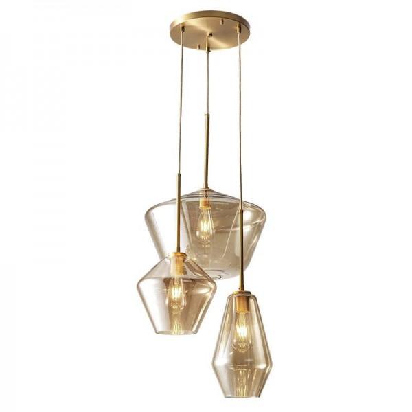 Nordic post moderne LED pendentif en verre lumières pleine de cuivre foyer salle à manger étude chambre droplight clair et verre de champagne