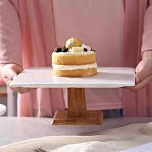 10 '' Carré De Gâteau En Céramique Stand Décoratif Porcelaine En Bois Compote Servant Plateau Vaisselle pour Pudding Mousseline De Soie Gâteau Muffin Tiramisu