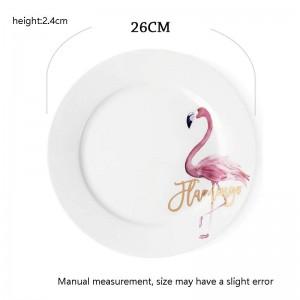 10inch créatif peint à la main assiette de motif Flamingo Accueil petit déjeuner Spaghetti Omelette soucoupe Steak plat Bone Vaisselle