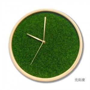 12 pouces Salon horloge en bois massif Accueil Moderne Chambre Horloge Muet Simulation gazon vert plante créative horloge murale en laiton pointeur