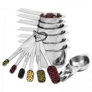 13 pièces tasses à mesurer et cuillères à mesurer en acier inoxydable pour cuisine outils de mesure de café de sucre de cuisson