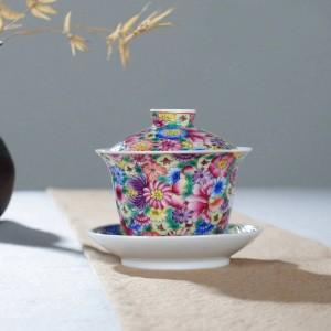 160ml Peint À La Main Exquis Émail Couleur Fleur Motif Gaiwan Théière Couvercle Soucoupe Kit Accueil Drinkware pour Cadeau De Mariage