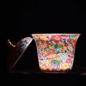 175ml Peint à la main émail couleur Gaiwan en céramique porcelaine Drinkware Bureau Kung Fu thé Set thé avec couvercle Kit Kit
