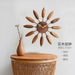 17inch En Bois Massif Horloge Murale Salon Horloge Murale Design Moderne Table Chambre Creative Maison Muet Ferme Décor