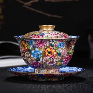 180 ml Gaiwan Peint À La Main Émaillé Noble Bol À Thé En Céramique Porcelaine Drinkware Assiettes De Thé Décoration De La Maison Collection Collection