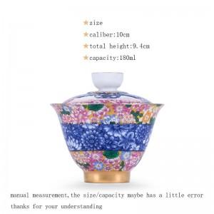 180 ml porcelaine argent gaiwan bureau thé cérémonie maître cha bols couvercle soucoupe peinte à la main modèle émail Drinkware