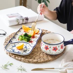 1 bol 1 assiette une personne dîner vaisselle en céramique style européen peint à la main petit déjeuner nourriture vaisselle en céramique costume