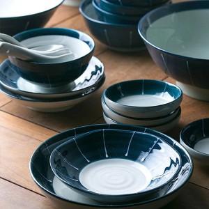 1 personne / 2 personne / 6 personne vaisselle en céramique Ensembles de casseroles en céramique de couleur bleu profond Ensemble de dîner de sushi en porcelaine japonaise
