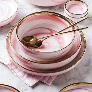 1 pc Rose Marbre Céramique Plat De Service Plat De Riz Salade De Nouilles Bol Assiettes À Soupe Vaisselle Ensembles Vaisselle À La Maison Vaisselle Cuisine Cook Tool