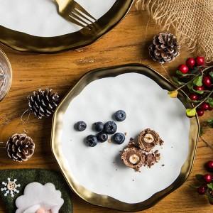 1 PCS 8/10 pouce Vaisselle En Céramique Plat À Dîner Plaque De Bifteck Ouest Plat Or Incrusté De Porcelaine Assiette À Dessert Vaisselle Assiette À Gâteau