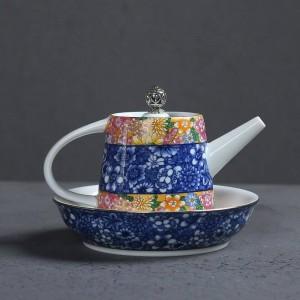 200 ml peinte à la main émail couleur céramique porcelaine maison café bouilloire thé ensemble théière pu'er tasse à thé couvercle soucoupe