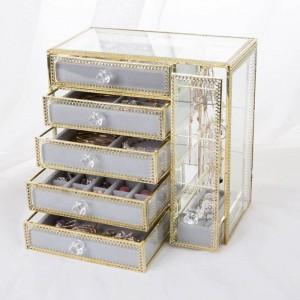 Nouveau tiroir boîte de rangement bijoux en or boîte de rangement boucles d'oreilles boucles d'oreilles collier verre boîte à bijoux de bureau cadeaux