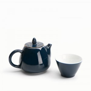 220ML Style Bleu En Céramique Porcelaine Or Bordure Couvercle Théière Kung Fu Ensemble De Thé Filtre Café Lait Pot Eau Bouilloire Drinkware