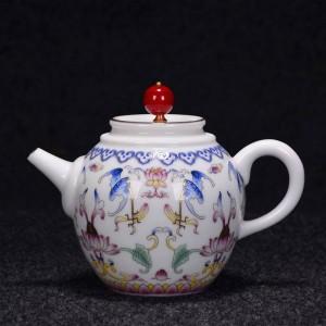 250 / 270ml Peint à la main émail couleur théière à la main en céramique porcelaine Drinkware thé cérémonie bouilloire envoyé amis cadeau
