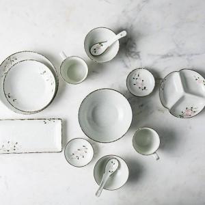 2 personne / 6 personne vaisselle en céramique place la fleur japonaise a conçu des bols en céramique long sushi grand bol porcelaine dîner ensemble