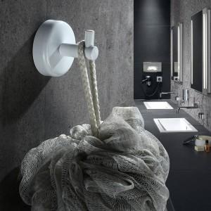 2pcs en acier inoxydable simple robe crochets mur suspendus monté serviette crochet blanc / noir peint vêtements crochet matériel de salle de bains