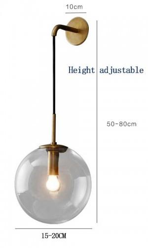 Nordique Moderne LED Applique Gris / Verre Clair Abat-Jour Salle De Bains Miroir Chambre À Coucher Applique Murale Applique Éclairage Maison