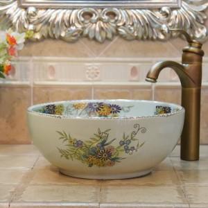 35cm mini fleur de crack et oiseau fait main lavabo lavabo artistique évier de salle de bain lavabo en céramique petit