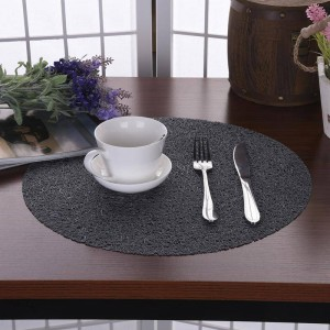 Table ronde en cristal transparent pour enfants 38CM Tapis EVA Set de table en plastique anti-dérapant Sous-verres de table de style occidental