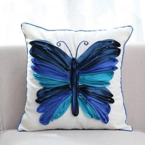 Papillon 3D brodé décoratif Throw Housse de coussin de luxe haut de gamme taie d'oreiller pour la literie canapé almofadas decorativas