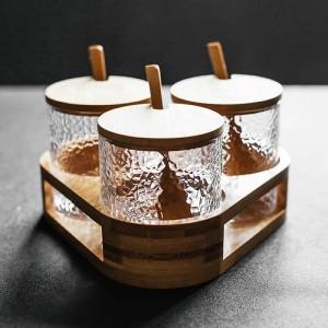 Assaisonnement en verre en forme de marteau 3 pièces Ensemble de boîte à condiments Mélangeur à épices et à poivre Outils de cuisine pour le piment au sel et au sucre