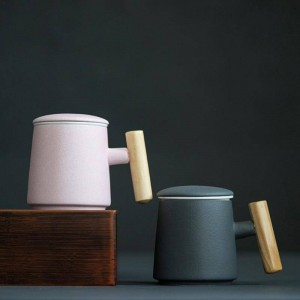 400 ml café tasse en céramique créative poignée en bois tasse de lait tasse eau main tasse à thé sensation légère utilisation intensive