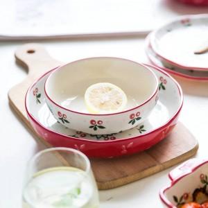 Ensemble de vaisselle pour 4 personnes en merisier japonais conçu de 10 assiettes en céramique pour la vaisselle