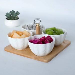 4pc / ensemble avec plateau fourchette créative bol de fruits en céramique salade bol partition de fruits salade assiette de casse-croûte assiette de fruits secs plats japonais