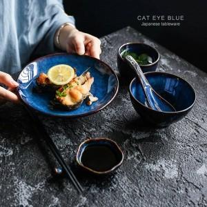 5pcs par set vaisselle en céramique bleu profond 1 personne dîner ensemble plaque bol tasse sauce plat vaisselle en porcelaine
