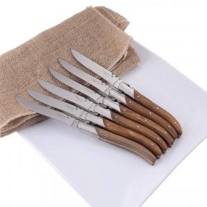 6/8 / 10pcs couteaux à steak style Laguiole manche en bois d'olivier couteau à dîner en acier inoxydable 8.25 '' couteau de table restaurant vaisselle