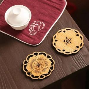 6 Pcs Ronde Bambou Café Coaster Ensemble Anti-slip Tapis De Table Décoration Accessoires Fleurs Coupe Pad Creux Sculpture À La Main En Bois