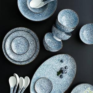 Service à vaisselle en porcelaine pour 6 personnes Service de vaisselle en céramique de 22 pièces de style japonais