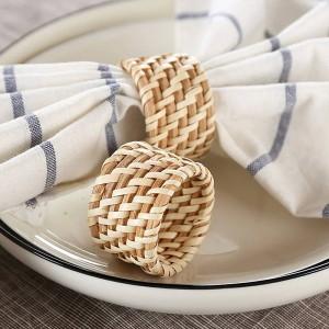 6pcs / Set solide hôtel haut de gamme restaurant serviette serviette fleur pliant bouche, et anneau de serviette en rotin à la main