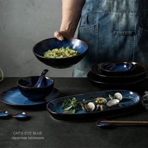 7 têtes ou 14 têtes ou 32 têtes vaisselle en céramique bleu profond service de table assiette un bol tasse sauce plat vaisselle en porcelaine