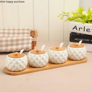 7pcs bambou bois céramique condiment spherical jarres épices mis salière poivrière assaisonnements sprays cuisine outil de cuisine
