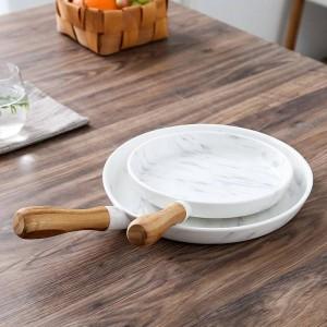 8 et 10 pouces manche en bois Dîner en marbre Assiette Assiette Assiette à dessert Vaisselle Plateau à dessert Plat à dessert