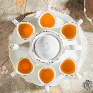 8PIECES Ensemble de thé en céramique de style européen Ensemble de thé en os avec plateau Thé anglais en après-midi Thé aux fruits et thé aux fleurs