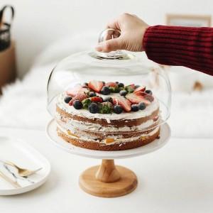 9 '' Céramique Compote Gâteau Stand Décoratif Porcelaine Dessert Plateau Couvercle En Verre Servant Vaisselle Ustensile pour Anniversaire et Mariage