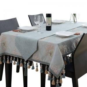 Incroyable conception nappe brodée luxe gland jacquard bleu Toalha De Mesa Royal N lin table à manger couvre