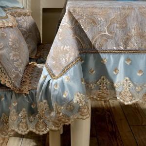 Étonnant design nappe jacquard bleu / jaune dentelle luxe festival mariage moderne salle décor table chiffon / housse de table personnalisé