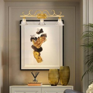American County TOILETTE Miroir Applique Murale Européenne Cuivre Salle De Douche Étanche En Verre LED Luminaires