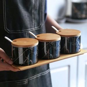 Bois de bambou Céramique Condiment marbré Bocaux à épices Casserole Ensemble poivre poivre Assaisonnement Sprays Cuisine Outil de cuisine