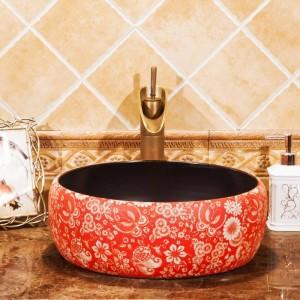 Lavabo Lavabo Comptoir En Céramique Lavabo Vestiaire Lavabo Vaisseau Peint À La Main Lavabos Salle De Bains Lavabo Vintage Lavabo Rouge