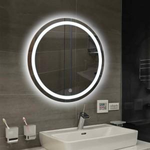 Mur de la salle de bains LED miroir lumineux rond suspendu salle de bains toilette maquillage miroir tactile interrupteur Blanc lumière chaude mx12151606