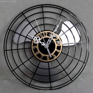 Meilleure Vente Produits Antique Horloge Murale De Ventilateur Électrique Continental Rétro Fan Horloges Table Creative Horloge Murale Murale Muet