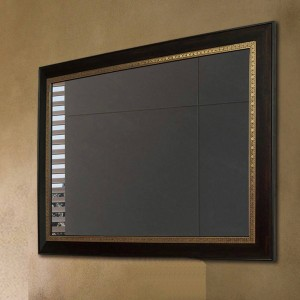Miroir de salle de bains en bois de noyer noir miroir suspendu maquillage miroir salon miroir wx8221431