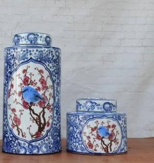 Bleu Et Blanc Glaçure Ornements Fleur Et Oiseau En Porcelaine Pot Décoration Circulaire Nouveau Classique Mobilier De La Maison en céramique pot vase