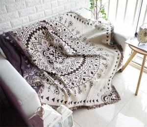 Bohemia Style Geometry Throw Blanket Sofa Decorative Slipcover Cobertor sur Sofa / Lits / Avion Voyage Couvertures de couture antidérapantes