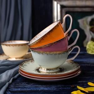 Tasses à thé en porcelaine tendre Set Tasses et soucoupes en céramique de haute qualité pour le café 200ML Drinkware Set